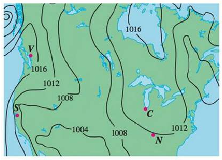 Chapter 14.1, Problem 34E, Shown is a contour map of atmospheric pressure in North America on August 12, 2008. On the level