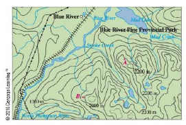 Chapter 14.6, Problem 36E, Shown is a topographic map of Blue River Pine Provincial Pork in British Columbia. Draw curves of