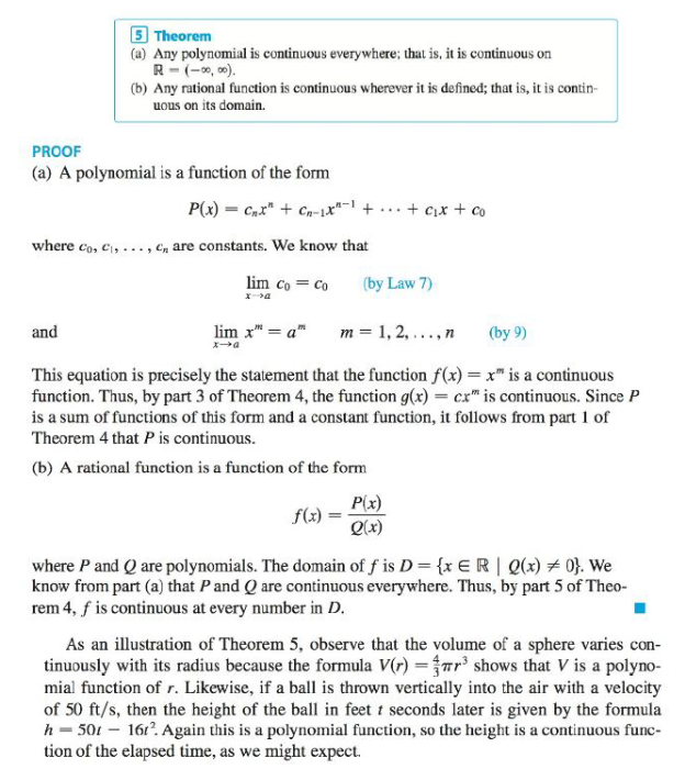 Chapter 2.5, Problem 27E, Explain, using Theorems 4, 5, 7, and 9, why the function is continuous at every number in its , example  3
