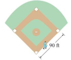 Chapter 3.9, Problem 20E, A baseball diamond is a square with side 90 ft. A batter hits the ball and runs toward first base