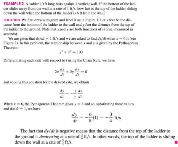 Chapter 3.9, Problem 34E, According to the model we used to solve Example 2, what happens as the top of the ladder approaches , example  1
