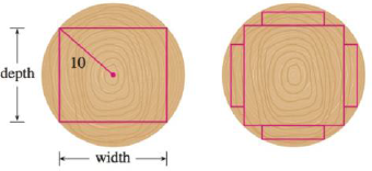 Chapter 4, Problem 79RE, A rectangular beam will be cut from a cylindrical log of radius 10 inches. (a) Show that the beam of