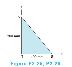 Chapter 2, Problem 2.25P, A force P in the xy-plane acts on the triangular plate. The moments of P about points O, A, and B