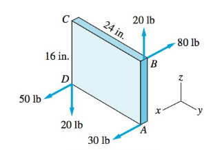 Chapter 2, Problem 2.77P, The force system acting on the plate is equivalent to a single couple C. Determine.