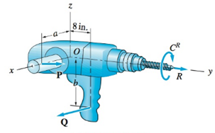 Chapter 3, Problem 3.11P, A worker applies the forces P=8i+10jlb and Q=8ilb to the hand-grips of the electric drill. These