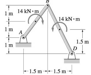 Chapter 4, Problem 4.176RP, The two couples act at the midpoints of bars AB and BD. Determine the magnitudes of the pin