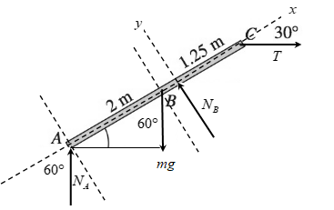 The homogeneous 40-kg bar ABC is held in position by a horizontal rope  attached to end C . Neglecting friction, determine the tension in the rope.  | bartleby