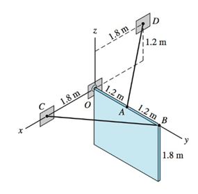 Chapter 5, Problem 5.23P, The homogeneous 80-kg sign is suspended from a ball-and-socket joint at O, and cables AD and BC.