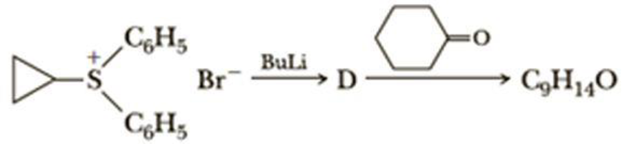 Chapter 16, Problem 16.28P, Propose a structural formula for compound D and for the product, C9H14O, formed in this reaction