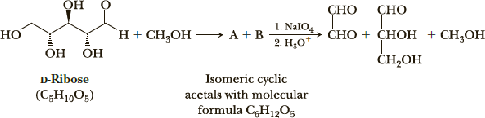 Chapter 16, Problem 16.70P, Ribose, a carbohydrate with the formula shown, forms a cyclic hemiacetal, which, in principle, could