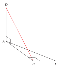 Chapter 1, Problem 4CT, Figure 3 shows two right triangles drawn at 90 to one another. Find the length of DB if DA = 6, AC =