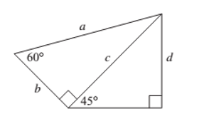 Chapter 1.1, Problem 68PS, Problems 67 and 68 refer to Figure 26. Figure 26 Find the lengths of sides a ,b, and c if d = 4.