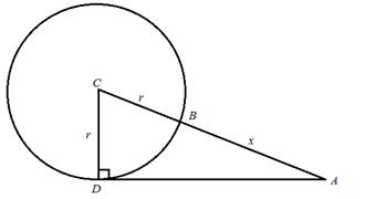 Chapter 2.3, Problem 42PS, The circle in Figure 7 has a radius of r and center at C The distance from A to B is x. For Problems