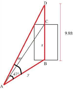 Chapter 2.4, Problem 33PS, Height of a Door From a point on the floor the angle of elevation to the top of a door is 47, while