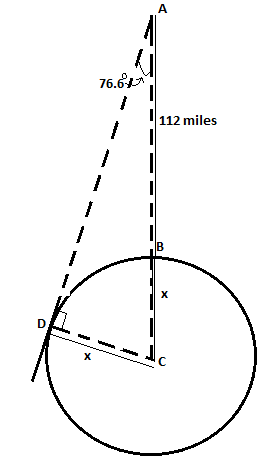Chapter 2.4, Problem 41PS, Radius of Earth A satellite is circling 112 miles above earth, as shown in Figure 22. When the