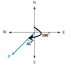 Chapter 2.4, Problem 57PS, What is the bearing of B from A in Figure 25? a. N135W b. W45S c. S45W d. N225E Figure 25