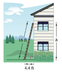 Chapter 8, Problem 21RE, Height A 16-foot ladder leans against the side of a house. The bottom of the ladder is 4.4 feet from