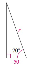 Chapter 8, Problem 41RE, Solving a Right Triangle In Exercises 41-44, solve for x, y, or r as indicated.