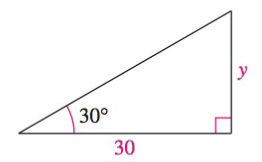 Chapter 8, Problem 42RE, Solving a Right Triangle In Exercises 4144, solve for x, y, or r as indicated. Solve for y.