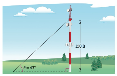 Chapter 8, Problem 52RE, Length A guy wire runs from the ground to a cell tower. The wire is attached to the cell tower 150
