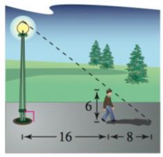 Chapter 8.1, Problem 45E, Height A person 6 feet tall standing 16 feet from a streetlight casts a shadow 8 feet long (see