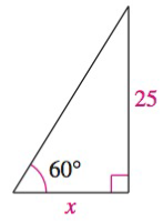 Chapter 8.2, Problem 44E, Solving a Right Triangle In Exercises 43-48, solve for x, y, or r as indicated. See Solve for x.
