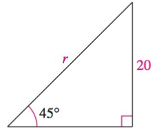 Chapter 8.2, Problem 46E, Solving a Right Triangle In Exercises 43-48, solve for x, y, or r indicated. See Solve for r.