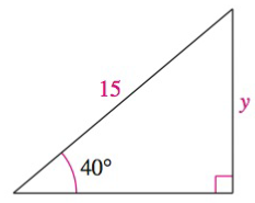 Chapter 8.2, Problem 47E, Solving a Right Triangle In Exercises 43-48, solve for x, y, or r as indicated. See Solve for y.
