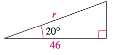 Chapter 8.2, Problem 48E, Solving a Right Triangle In Exercises 43-48, solve for x, y, or r as indicated. See Solve for r.