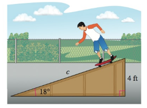 Chapter 8.2, Problem 74E, Skateboard Ramp A skateboard ramp with a height of 4 feet has an angle of elevation of 18 (see