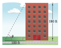 Chapter 8.2, Problem 78E, Height The height of a building is 180 feet. Find the angle of elevation (in degrees) to the top of