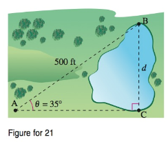 Chapter 8.3, Problem 21QY, A map maker needs to determine the distance d across a small lake. The distance from point A to
