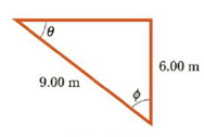 Chapter 1, Problem 45P, For the triangle shown in Figure P1.45, what are (a) the length of the unknown side, (b) the tangent