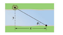 Chapter 1, Problem 53P, A surveyor measures the distance across a straight river by the following method: starting directly