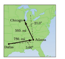 Chapter 1, Problem 68P, A map suggests that Atlanta is 730. miles in a direction 5.00 north of east from Dallas. The same