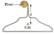 Chapter 13, Problem 38P, A coat hanger of mass m = 0.238 kg oscillates on a peg as a physical pendulum as shown in Figure