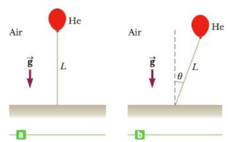 Chapter 13, Problem 71AP, A light balloon filled with helium of density 0.179 kg/m3 is tied to a light string of length L =