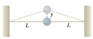 Chapter 13, Problem 72AP, An object of mass m is connected to two rubber bands of length L, each under tension F, as in Figure