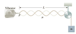 Chapter 14, Problem 50P, In the arrangement shown in Figure P14.50, an object of mass m = 5.0 kg hangs from a cord around a