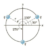 Chapter 15, Problem 33P, Three identical charges (q = 5.0 C.) lie along a circle of radius 2.0 m at angles of 30, 150, and