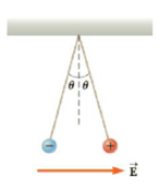 Chapter 15, Problem 63AP, Two 2.0-g spheres are suspended by 10.0-cm-long light strings (Fig. P15.63). A uniform electric