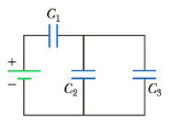 Chapter 16, Problem 44P, Three capacitors are connected to a battery as shown in Figure P16.44. Their capacitances are C1 =