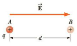 Chapter 16, Problem 6P, A point charge q = +40.0 C moves from A to B separated by a distance d = 0.180 m in the presence of