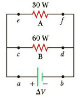 Chapter 17.6, Problem 17.8QQ, For the two resistors shown in Figure 17.12, rank the currents at points a through f from largest to