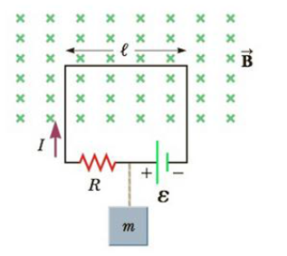 Chapter 19, Problem 30P, Mass m = 1.00 kg is suspended vertically at rest by an insulating string connected to a circuit