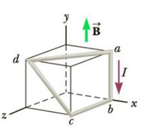 Chapter 19, Problem 33P, In Figure P19.33, the cube is 40.0 cm on each edge. Four straight segments of wireab, bc, cd, and