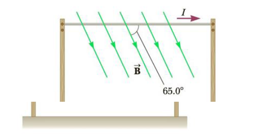 Chapter 19, Problem 34P, A horizontal power line of length 58 m carries a current of 2.2 kA as shown in Figure P19.34. Earths