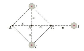 Chapter 19, Problem 71AP, Three long, parallel conductors carry currents of I = 2.0 A. Figure P19.71 is an end view of the