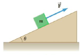 Chapter 4, Problem 24P, A block of mass m = 5.8 kg is pulled up a  = 25 incline as in Figure P4.24 with a force of magnitude