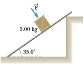 Chapter 4, Problem 31P, The coefficient of static friction between the 3.00-kg crate and the 35.0 incline of Figure P4.31 is
